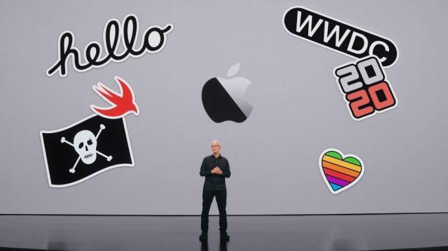 CEO Apple, Tim Cook dalam ajang WWDC 2021, Selasa dini hari (8/6/2021) WIB. [Apple]